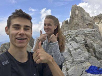 Stefan Felder und Theresia Heim von der HLT Bezauauf ihrer Italienischreise