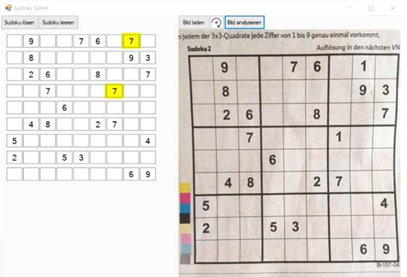 Sudoku-Solver - fehlerhaftes Testergebnis - Die 1 (gelb) wurde fälschlicherweise mit einer 7 verwechselt.