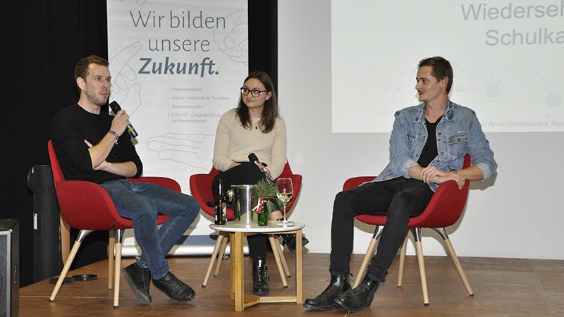 Aeneas Schiretz, Franziska Böhler und Philipp Moosbrugger beim Alumni-Treffen