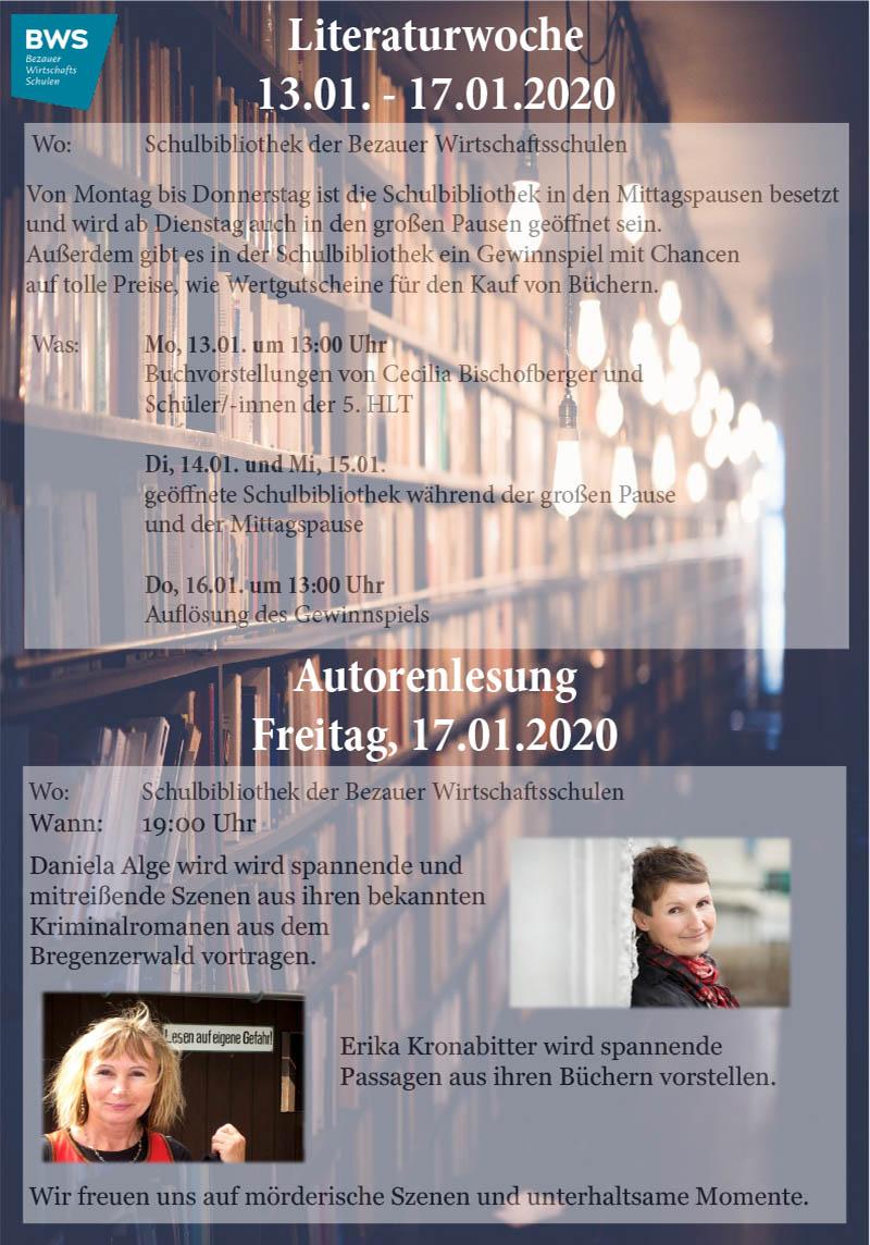 Literaturwoche - Lesung an der Tourismusschule Bezau