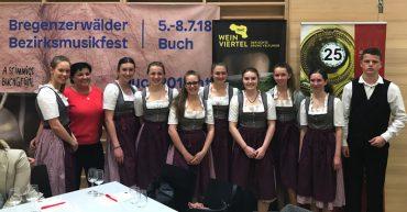 Weinverkostung in Buch anlässlich des Bregenzerwälder Bezirksmusikfestes 2018.