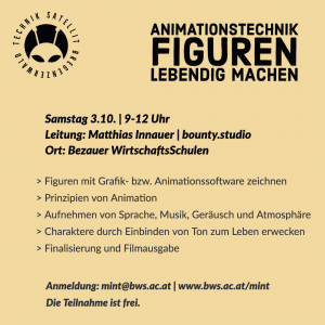 Workshop Animation Programm im Technik-Satellit Bregenzerwald