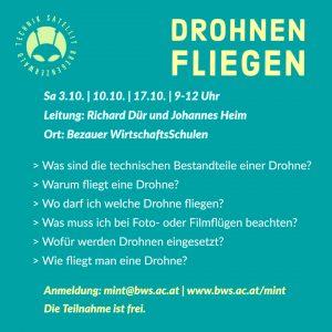 Workshop Drohnenfliegen Programm im Technik-Satellit Bregenzerwald
