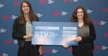 Melanie Kohler und Anna Jäger aus der HAK Bezau bei der BTV-Marketing-Trophy 2020