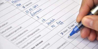 Formular für die Anmeldung