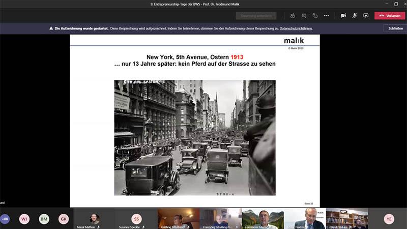 Präsentation beim Vortrag mit Prof. Fredmund Malik - die grosse Transformation21