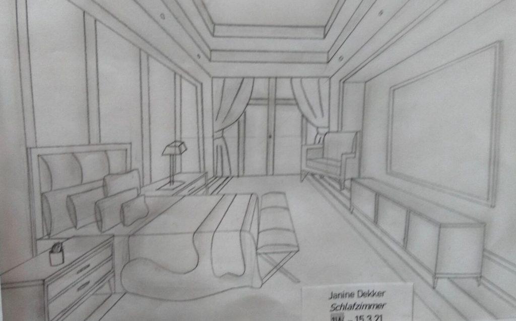 Schlafzimmer Reinzeichnung von Janine Dekker, 1. Werkraumklasse Bezau