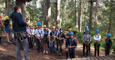 Besuch der Werkraumklasse im Waldseilgarten